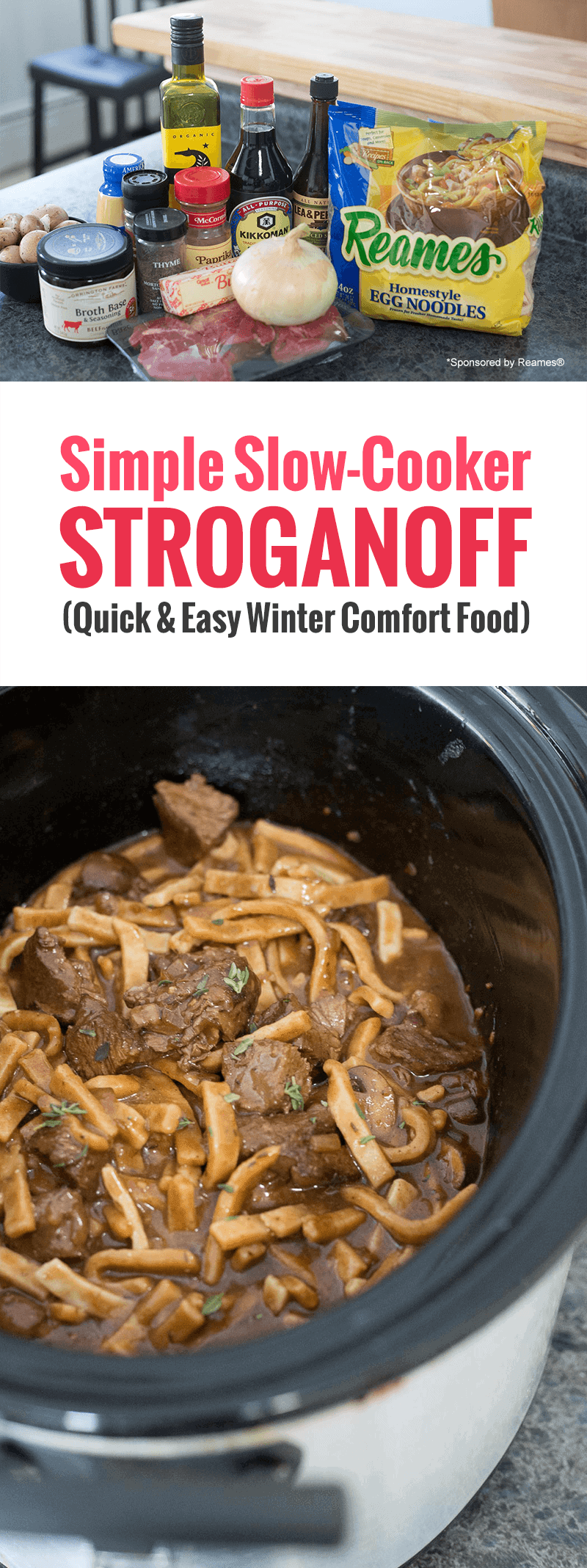 This Slow-Cooker Stroganoff is so simple and DELICIOUS, perfect for a chilly day. Just pop it in the crock pot and come home to a delicious family meal. #recipe #homemadegoodness #slowcooker #crockpot *My family loves Beef Stroganoff. These thick egg noodles are the best!