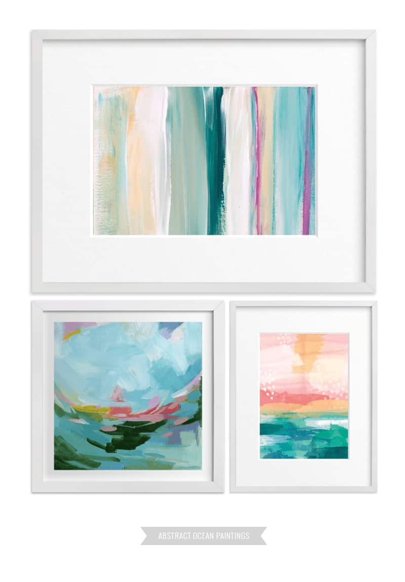 7 Ways to Create a Cohesive Wall Gallery - If you prefer to play with a variety of media or color, consider sticking to a specific ART PERIOD when searching for wall art ideas. Abstract art won't overpower photographs in your wall gallery! #wallgallery #gallerywall #artprints #abstractart #minted *loving all these tips and examples
