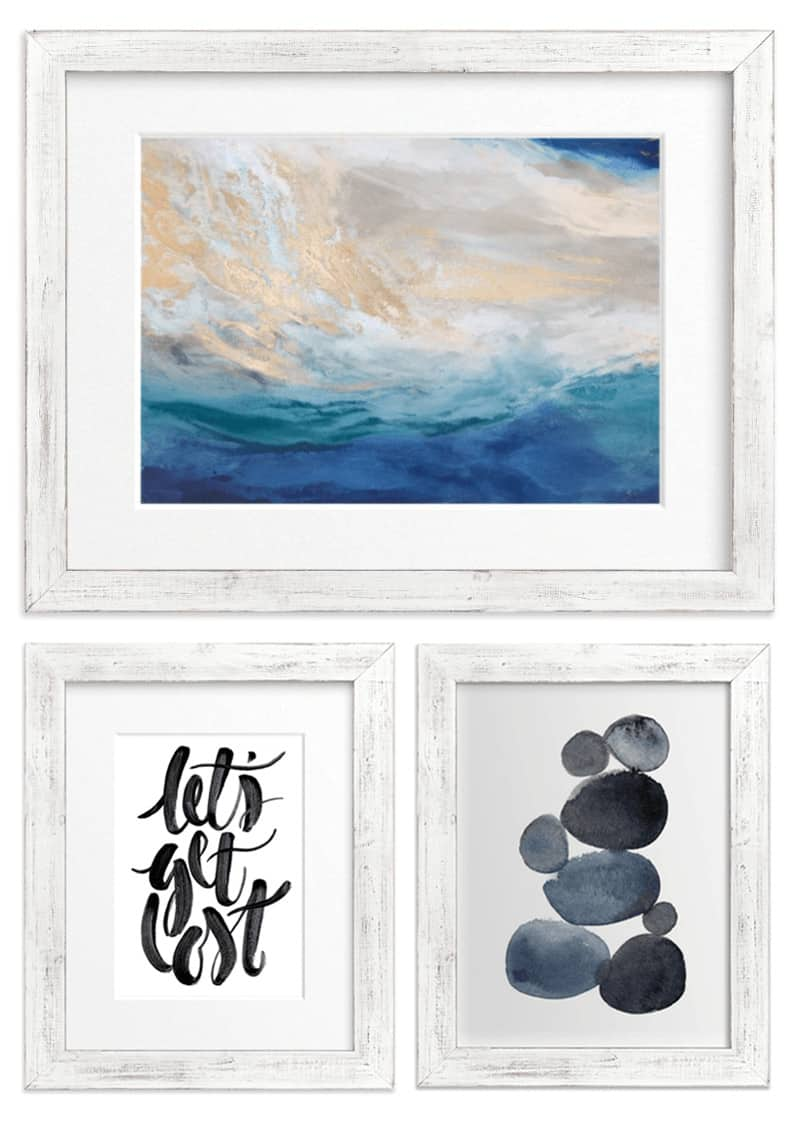 7 Ways to Create a Cohesive Wall Gallery - Use FRAMES as an easy way to tie together a variety of gallery wall art pieces. If you have a truly diverse collection of art pieces in your wall gallery, try using similar frames when displaying each piece to create a sense of visual unity throughout your home. #gallerywall #beachart #artprints #wallgallery #art #letsexplore #minted *loving all the examples in this post!