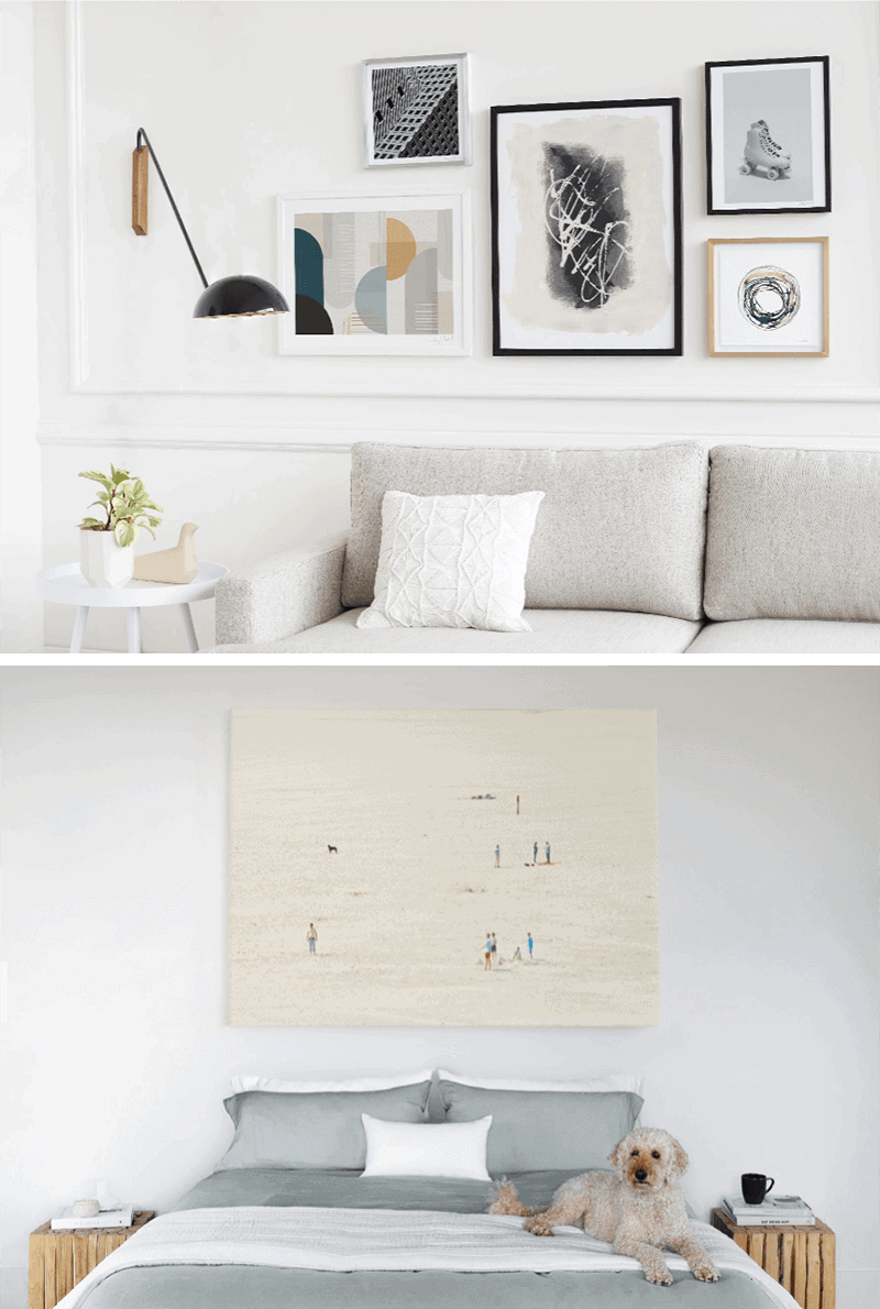7 Ways to Create a Cohesive Wall Gallery - Quick tip: Text a photo of your wall to and a Minted stylist will text you back art recommendations that perfectly fit your space—for FREE. #wallgallery #artprints *How cool is that?!?