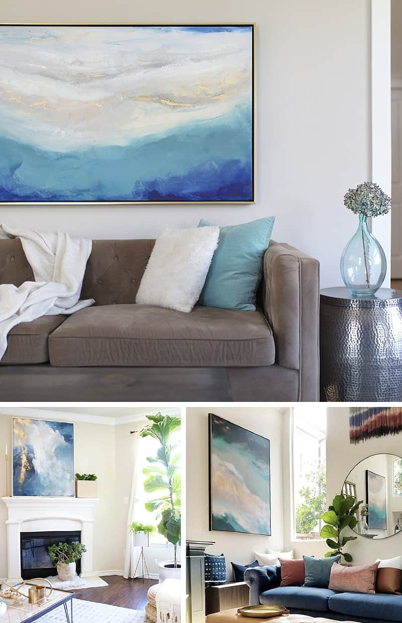 How to Curate a Beautiful Wall Gallery - 7 simple tips for success with gallery walls and large print art #wallgallery #artprints *Love these examples and ideas