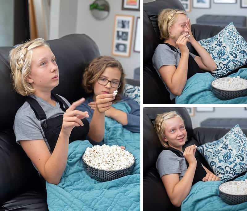 How to Have the BEST Family Movie Night EVER - Movies are a great way to open the door to tough conversations with your tween or teen #modernparenting #parenting #movies #printable #positiveparenting #tweens #popcorn #popcornrecipes #sweetpopcorn *Loving the tips in this post, plus the sweet popcorn recipes sound amazing