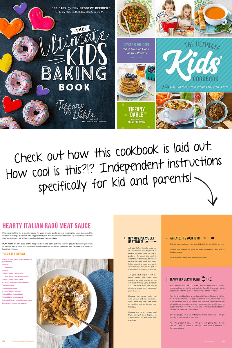 This dual Ultimate Kids' Cookbook collection is too cool. #cookbook #kidscookbook #recipes #desserts *Check out how the Ultimate Kids' Cookbook is laid out. How neat is this?!? Independent instructions specifically for kid and parents!