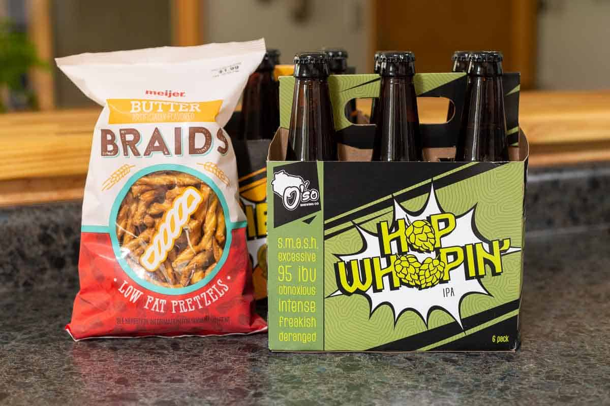 If you're pulling together a last-minute craft beer-sampling party, you can even get by with a simple bag of pretzels. Butter Braids are my favorite.