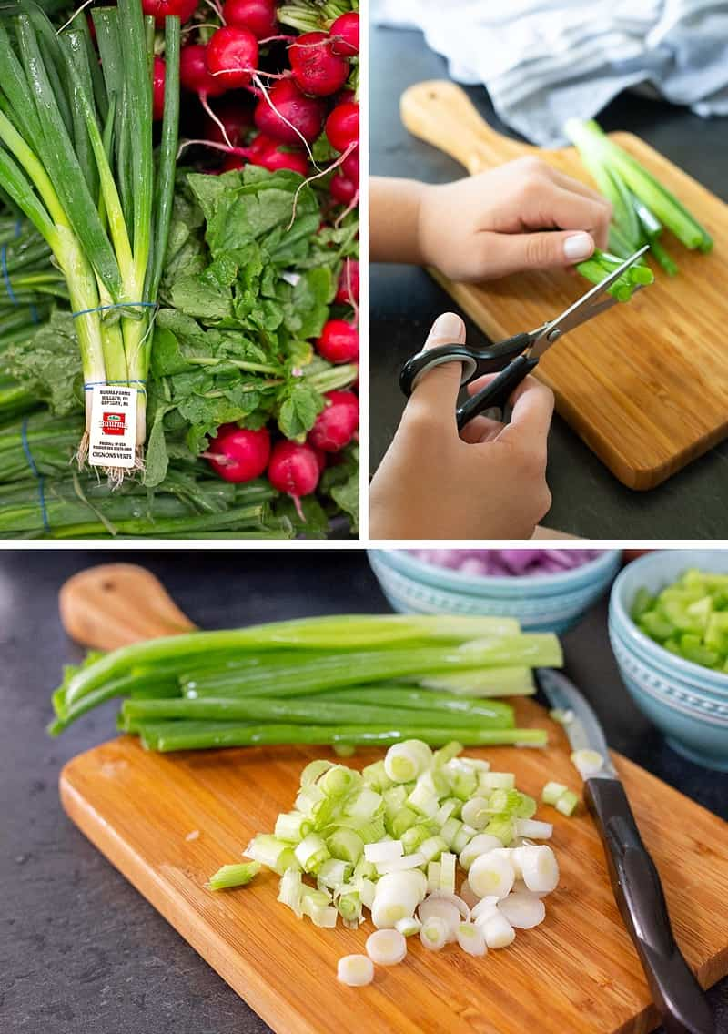 "Mom-to-mom tip: You can give your little kid a pair of freshly washed scissors to have them ""chop"" fresh scallions (or chives) for a  dinner topping. ANYTIME you buy ingredients to make a slow cooker meal, be sure to pick up a fresh garnish. Take that monochromatic Crock-Pot meal (that is delicious!) to the next level! #familykitchen #kidscooking #kidchef *Love this idea!"