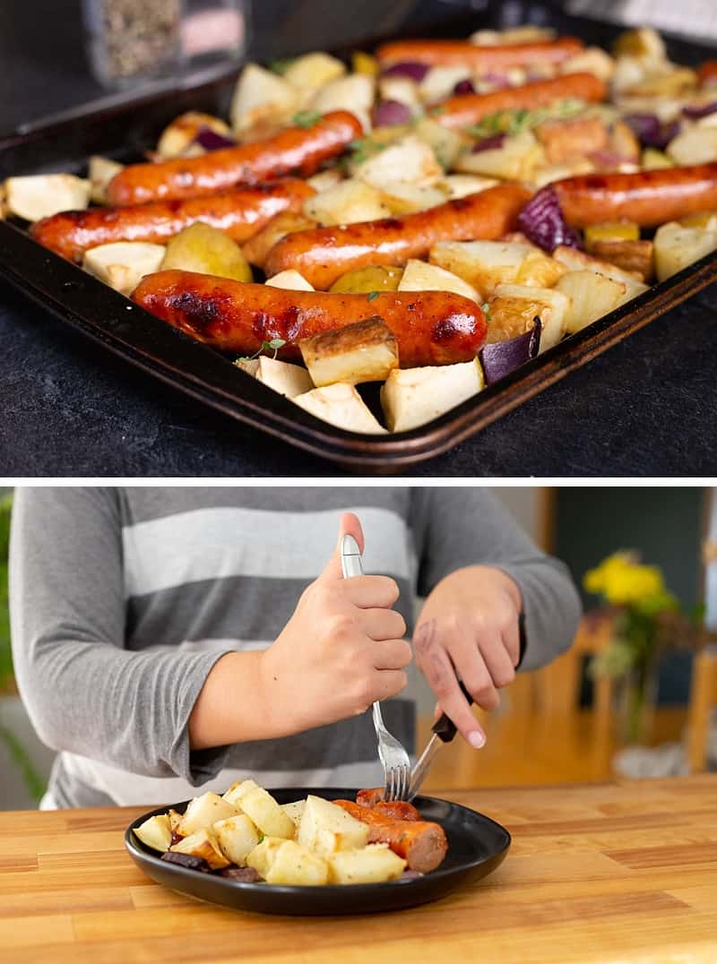 This oven-roasted sausage and potatoes bake is easy, simple, and delicious. Perfect for a weeknight family dinner. Chicken sausage and apples give this classic a delicious fall spin. This one sheet-pan supper just happens to be gluten-free, dairy-free and paleo-friendly too. #dinner #recipe #onepotmeal *My kids love this recipe!