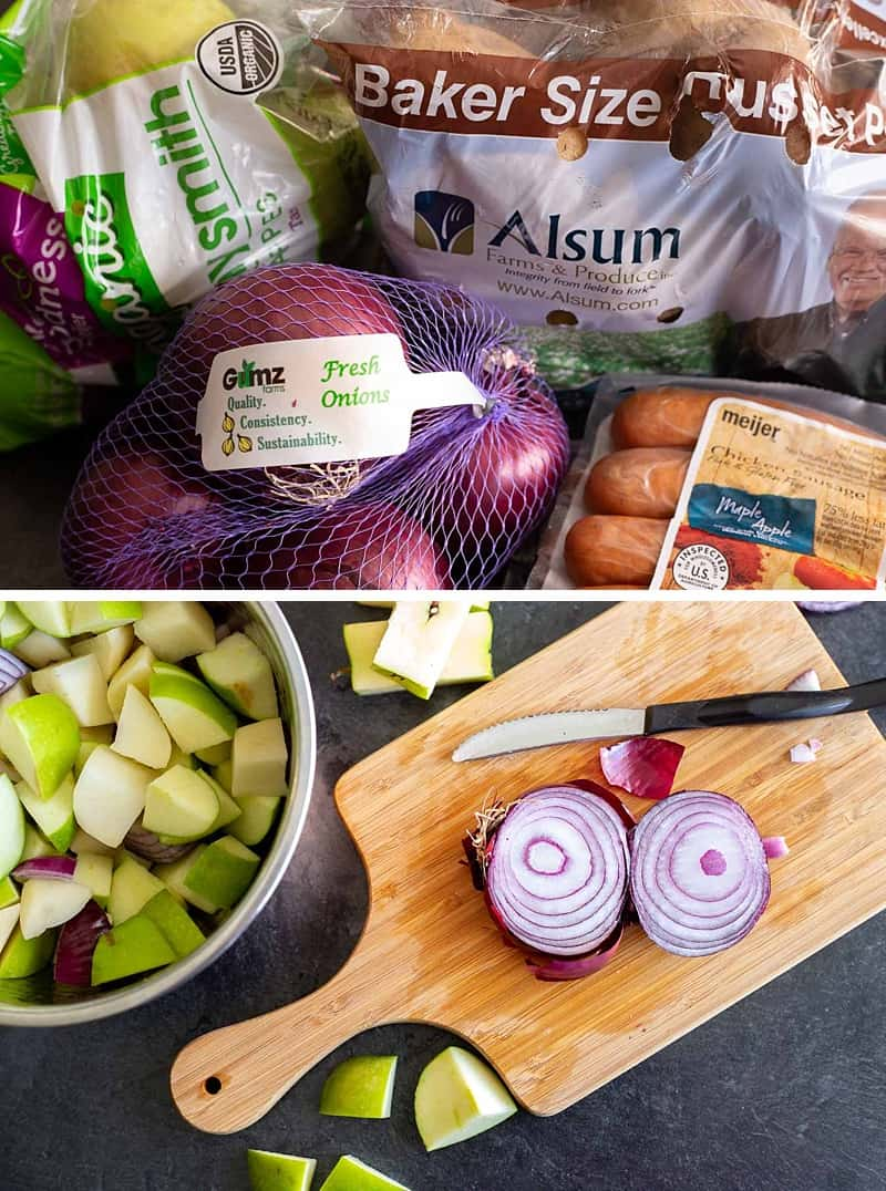 Chopping onions for a Sausage And Potatoes Bake recipe