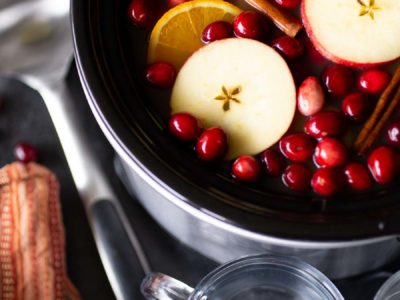 There's nothing more inviting than the aroma of hot mulled cider in the slow cooker. This simple make-ahead recipe allows you to be a good host, without pausing to offer every guest a drink upon arrival. Before guests arrive, set up a self-serve station with mugs, whipped cream, and a bit of liquor. Adult guests love the option to self-spike a delicious mulled cider!