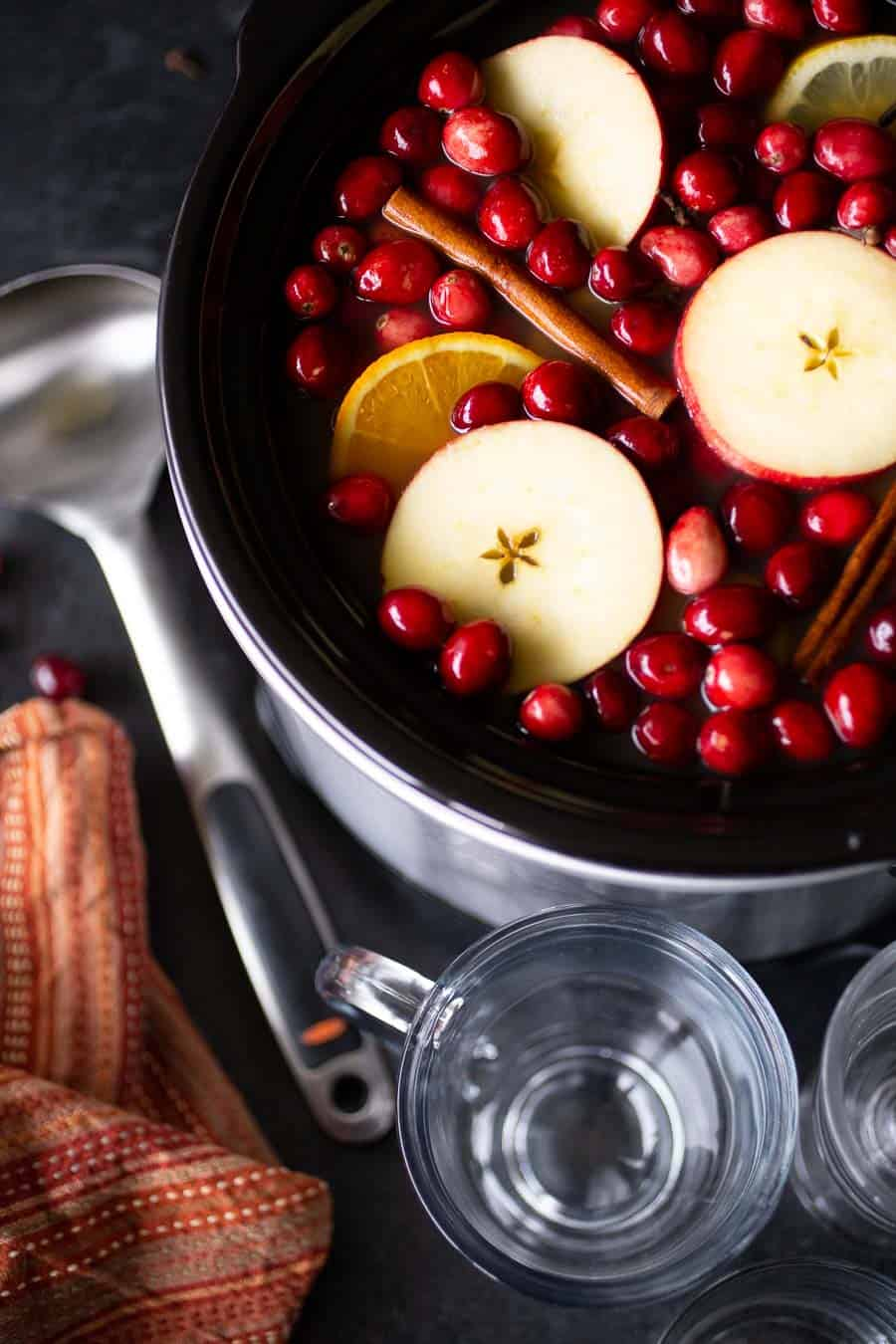 Using a slow cooker for this classic cold-weather mulled cider recipe allows you to prep, pre-make, and then be fully present with your family and friends. The slow cooker keeps the hot apple cider warm (and mulling) in the background while you get to sit back and enjoy some downtime with the people you love. #mulledcider #applecider #fallrecipes #thanksgivingrecipes #christmasdrinks #crockpotrecipes #slowcooker #slowcookerrecipes #recipes #drinkrecipes #easypeasydrinks #cider #mulledcider #applecider *My family LOVES this cider