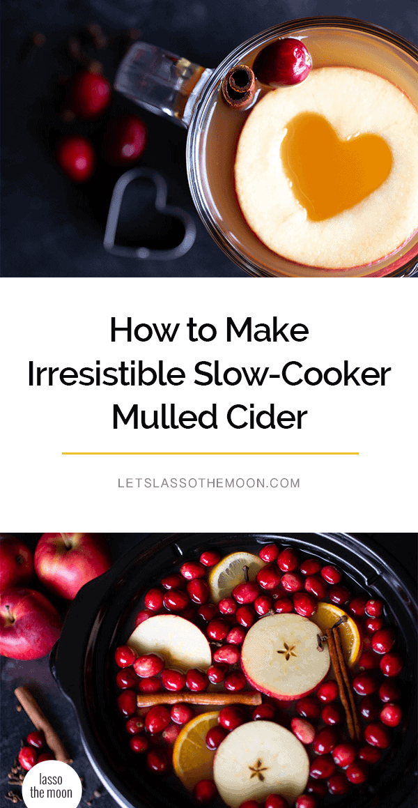 This simple mulled cider recipe only calls for a few simple ingredients: apple cider, spices, a bit of citrus and ... a secret ingredient (pure maple syrup). So delicious and easy in the slow cooker. #crockpot #crockpotrecipes #slowcooker #slowcookerrecipes #recipes #drinkrecipes #thanksgivingrecipes #christmasrecipes #easypeasydrinks #cider #mulledcider #applecider *How cute is this Crock Pot recipe?!?! It is so simple and my family loves it.