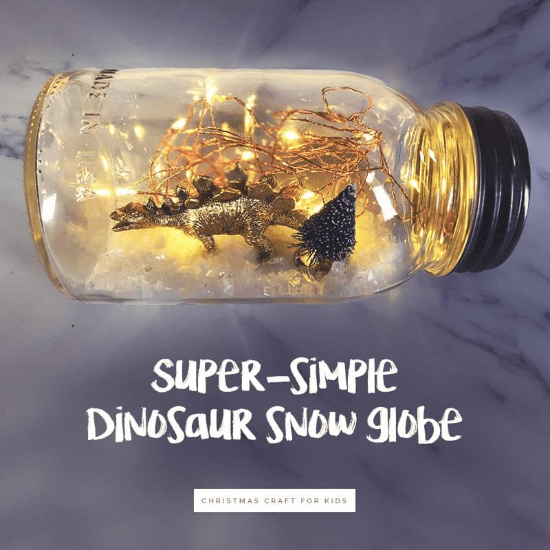 Christmas Crafts for Kids - DIY Snow Globes For Kids: Learn how to make this super simple dinosaur snow globes that light up (and are water free) #kidscraft #christmascraft #DIY #holidayDIy *My kids love using their mason jar snow globe as a DIY night light