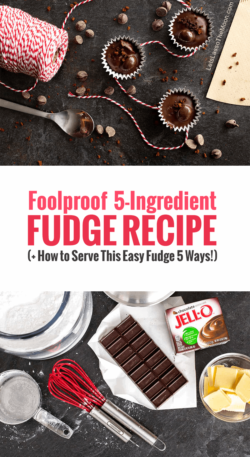 5-Ingredient Fudge Recipe in 15 Minutes (+ How to Serve This Easy Fudge 5 Ways!) - Deliciously rich homemade fudge WITHOUT condensed milk. #fudge #fudgerecipe #recipe #dessert #christmas #easypeasyrecipe #easyfudge *My family LOVES this microwave fudge recipe. It is a holiday tradition.