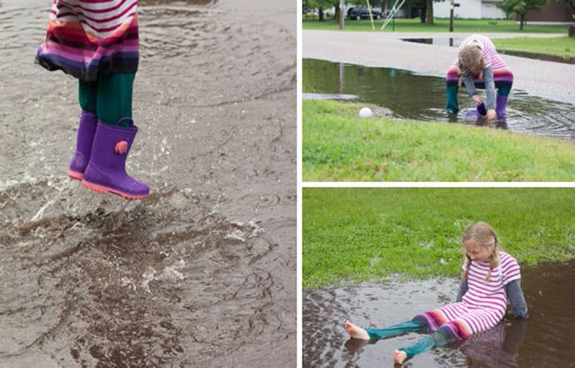 How to Get a Terrific Puddle Action Photo + Printable Spring Photo Lists! #photography #photographytips #photographylist *Love this post on how to get a great water action photo when puddle jumping with kids!