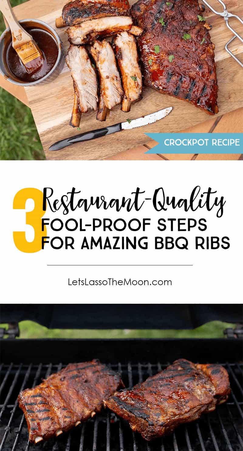 Learn how to make THE BEST Bourbon BBQ Sauce and Crockpot Ribs for your next family get-together or holiday party. #crockpot #slowcooker #ribs #recipe *These ribs are so delicious and simple. Restaurant quality every time!