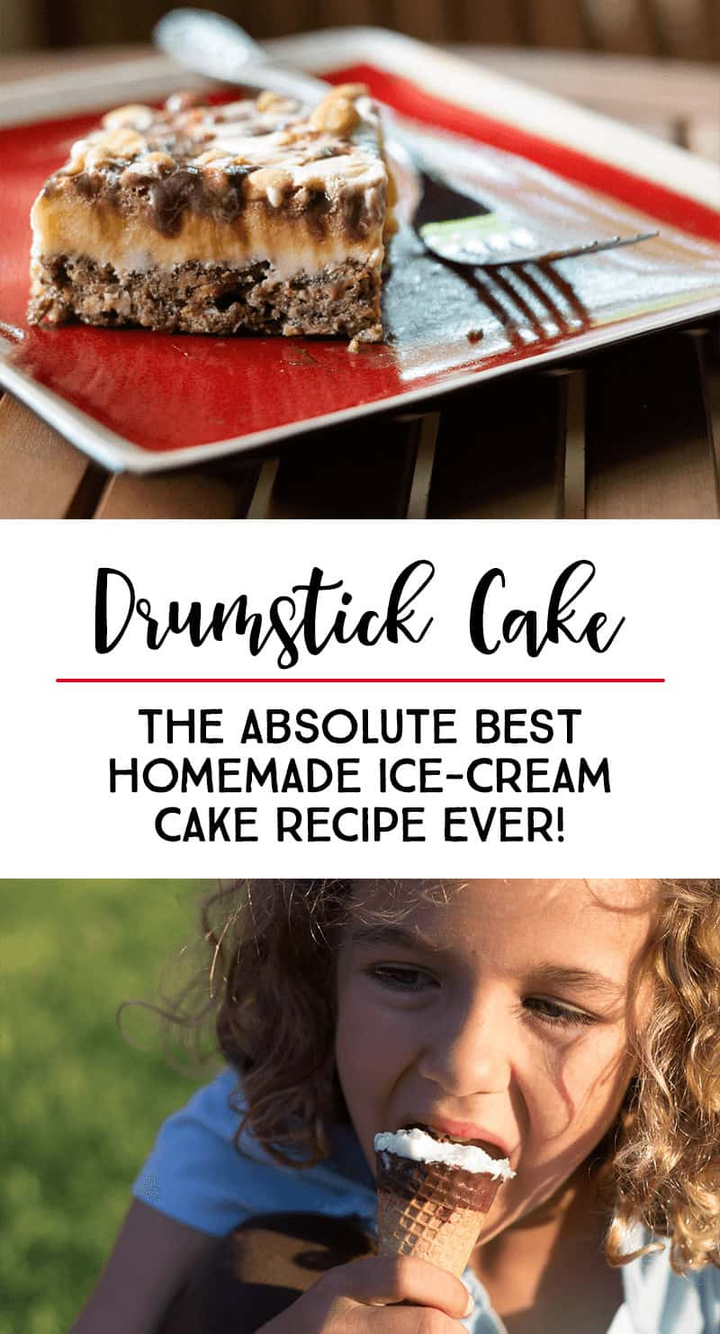 Drumstick Cake — THE BEST Homemade Ice-Cream Cake Recipe Ever! #recipe #dessert #icecreamcake *My family absolutely loves this dessert recipe. It is one of our birthday cake favorites!!!