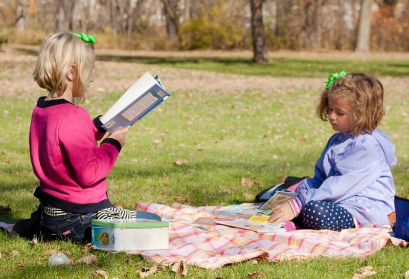 Reading Picnic Party - Pack a blanket and a few snacks, then head to the library to check out some books. Spend the afternoon at a local park reading together.