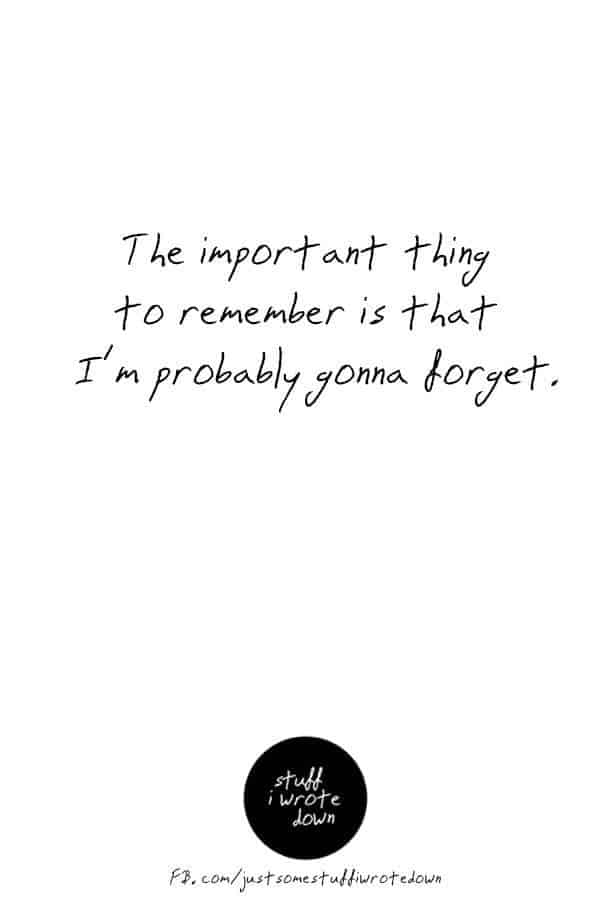 The important thing to remember is that I'm probably going to forget. #quote #middlelife *This entire collection of funny quotes about getting older makes me laugh