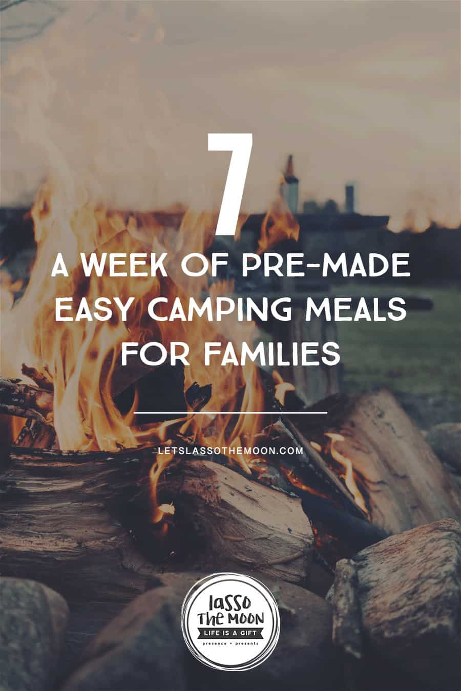 Here is a weeks worth of pre-made, delicious, easy camping dishes that are family friendly! #camping #campingmeals #familydinner *Great list of camping meals