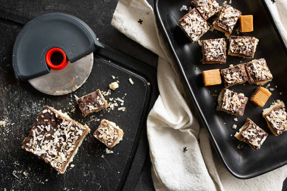 Love this chocolate coconut bar recipe! And the quick tips for cutting cookie bars into bite-sized mini desserts. *Love this collection of recipes