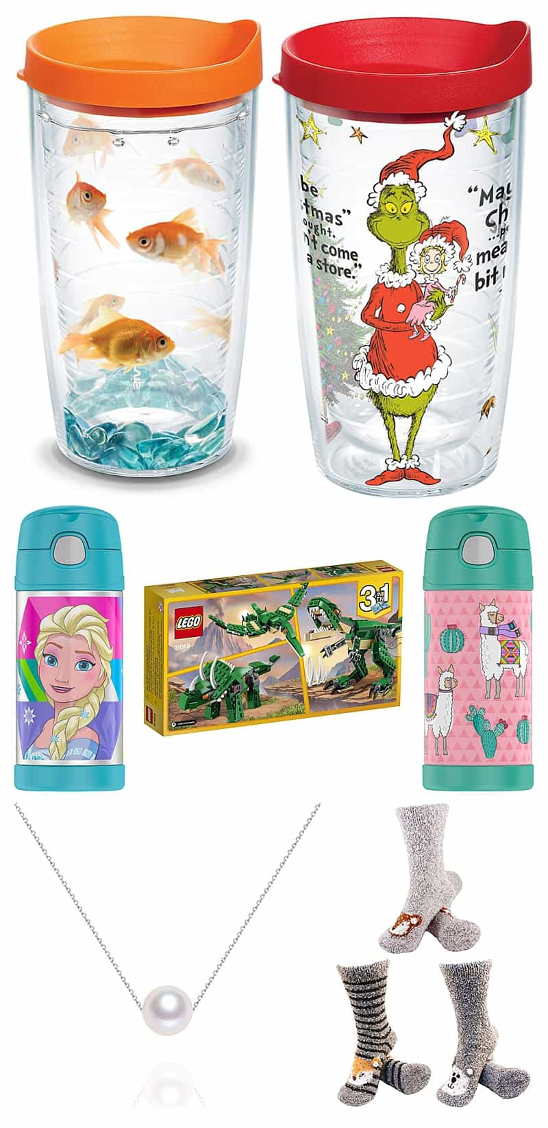 Stocking Stuffers For Kids Including: Tervis Cups, Sippy Cups, Legos, Necklace, and Socks