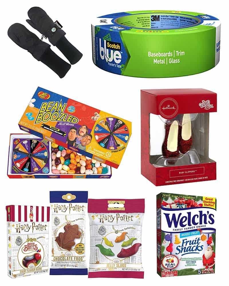 Stocking Stuffers For Kids Including: mittens, painter's tape, jelly beans, ornaments, and fruit snacks