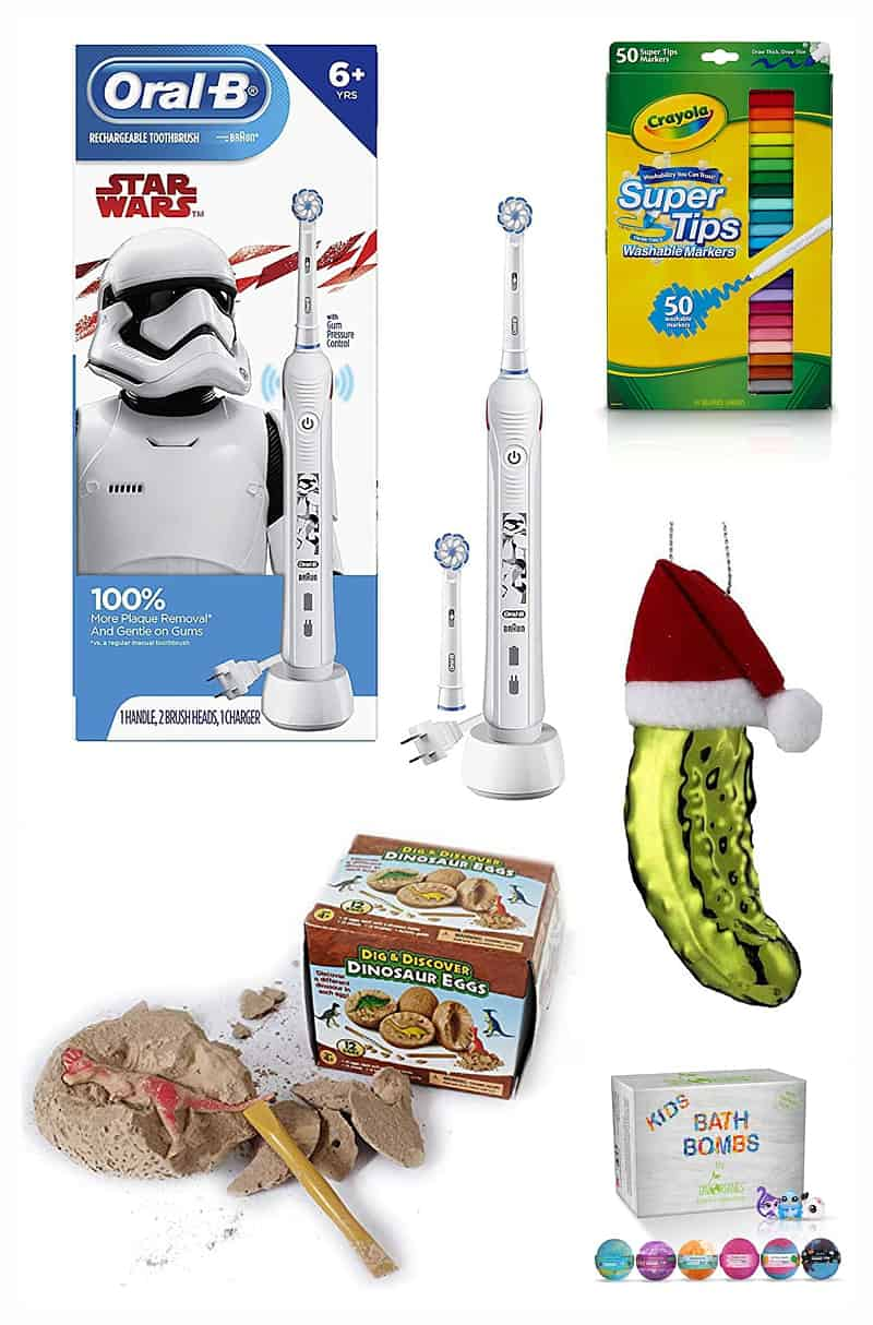 stocking stuffers for kids including a toothbrush, markers, dinosaur egg, pickle ornament, and bath bombs