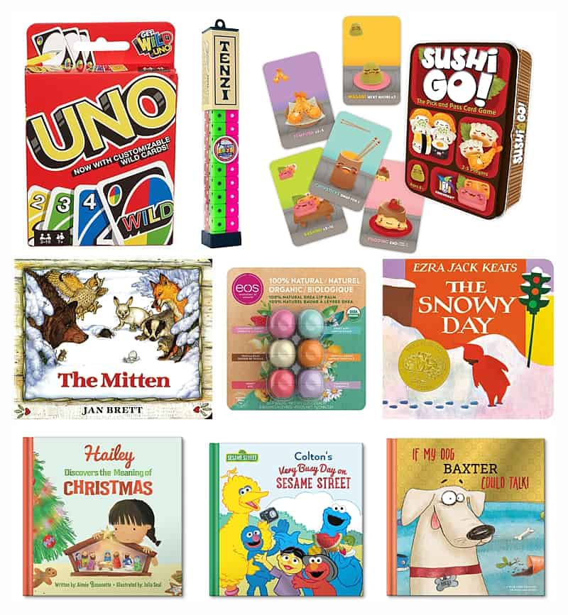 Stocking stuffers for kids including uno, tens, sushi go, the mitten, eos lip balm, and more books