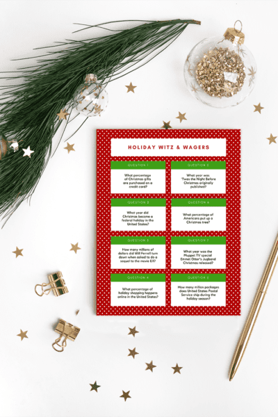 Polkadot printable of Wits and Wagers holiday questions