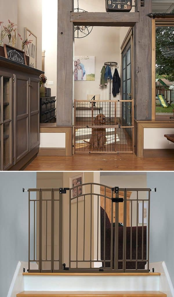 Two examples of baby gates used for potty training a puppy.