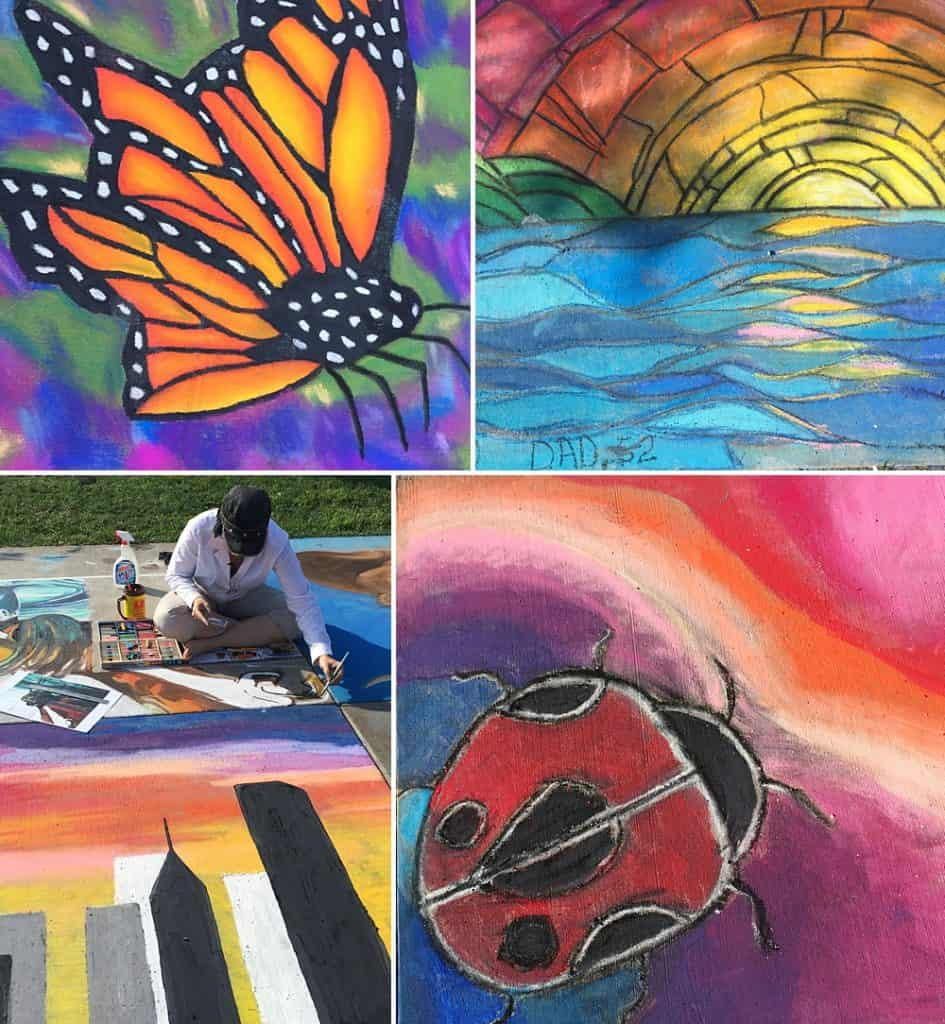Examples of chalk art ideas including a monarch butterfly, an abstract sunset, and a giant ladybug