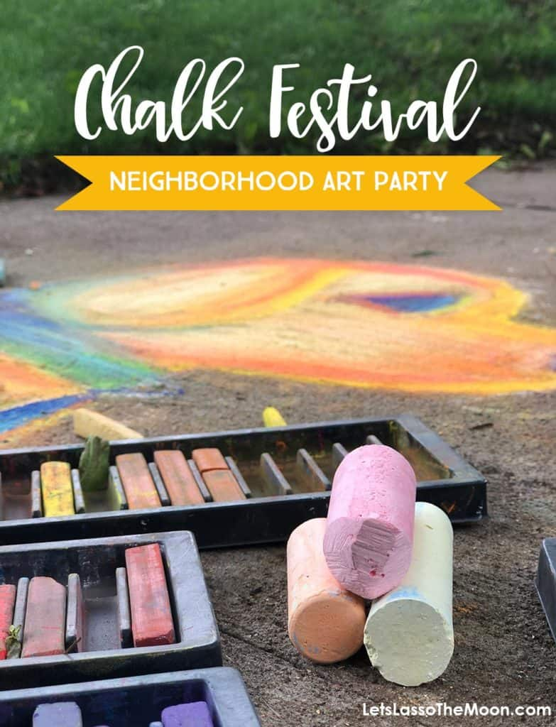 Chalk art supplies along with a call to encourage families to host a neighborhood chalk festival.