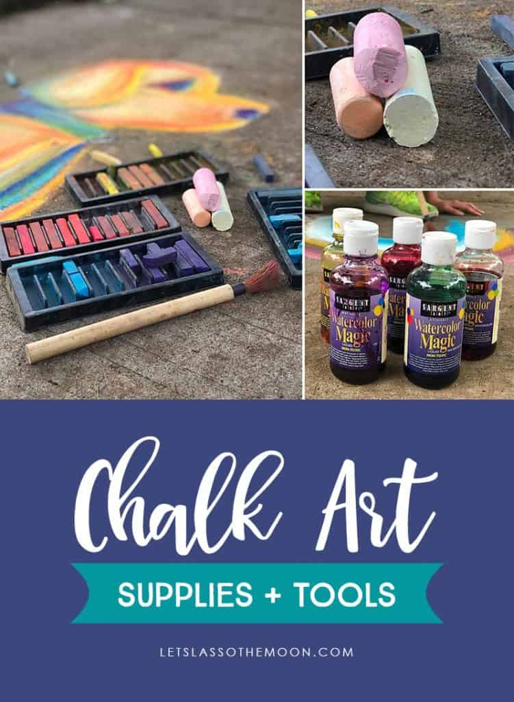 A collection of chalk art supplies and tools including chalk, pastels, paint brushes, and liquid water colors.