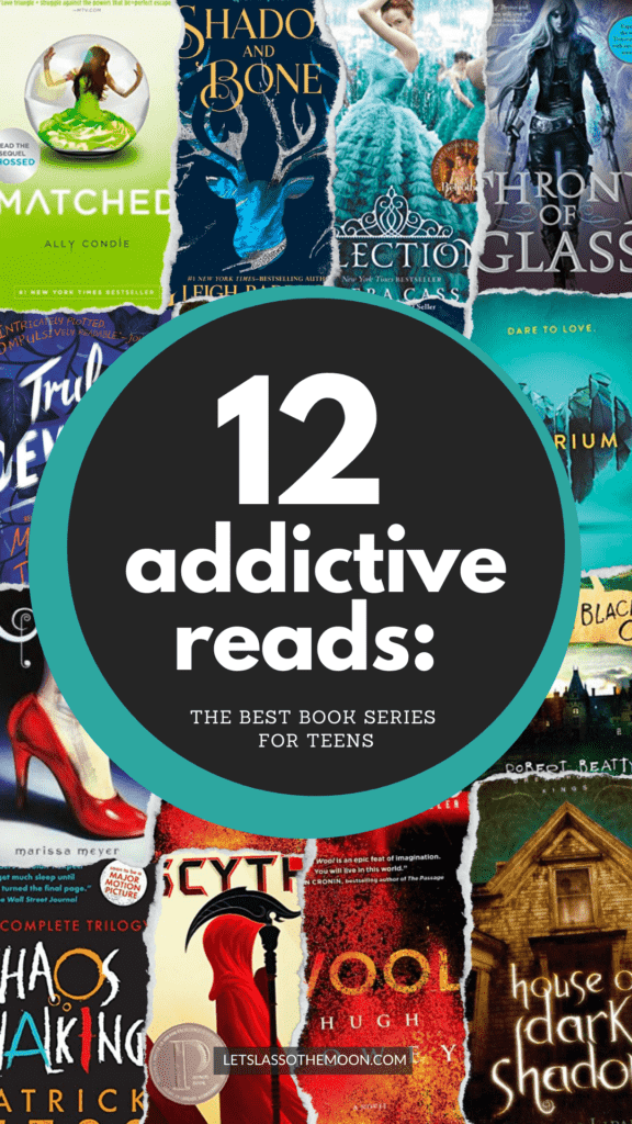 """Collection of book covers with type overtop reading, """"12 Addictive Reads: The Best Book Series For Teens."""""""