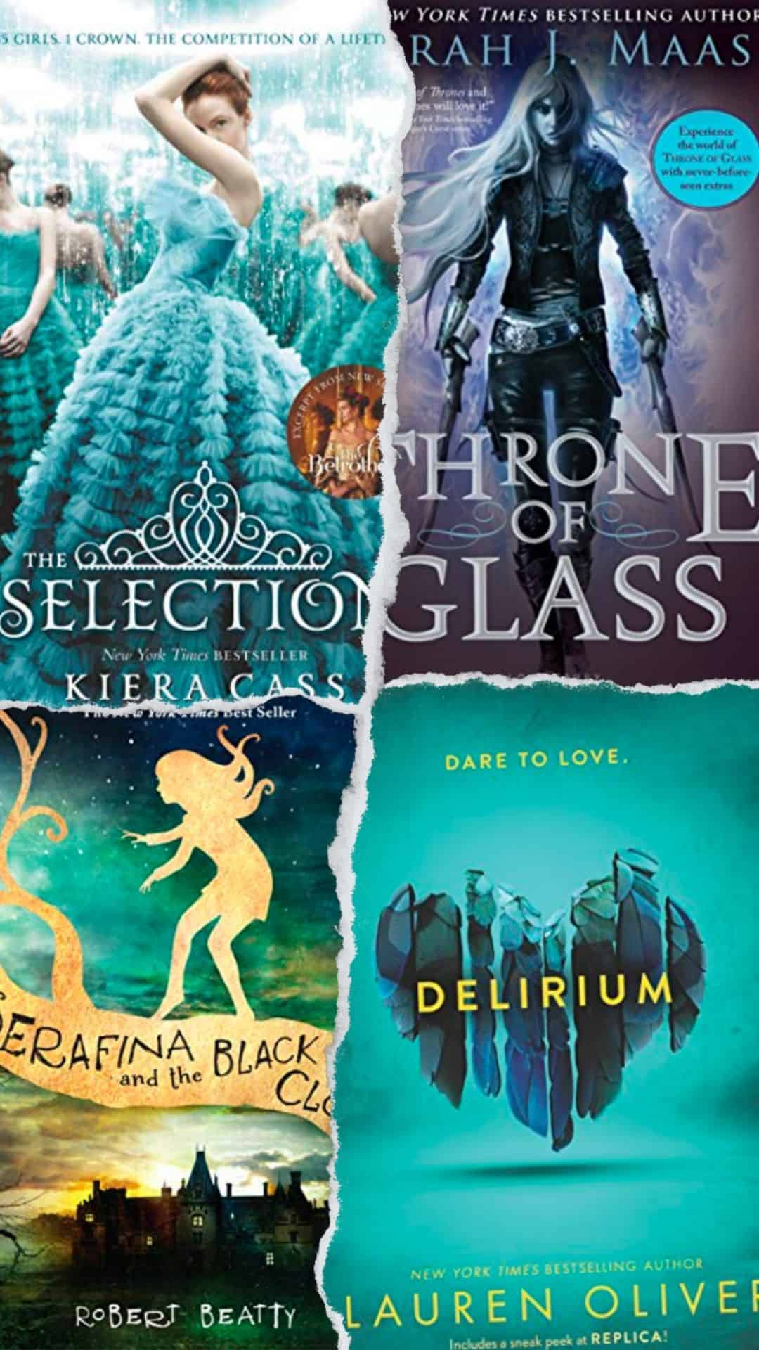 Book series for teens including Selection, Throne of Glass, Serafina, and Delirum book covers.