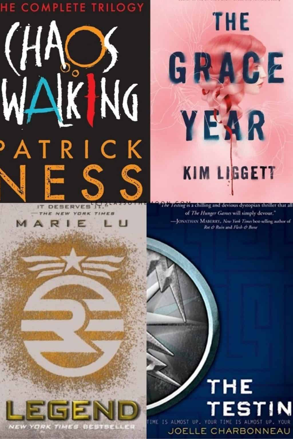 The covers of four YA Dystopian Novels including Chaos Walking, The Grace Year, Legend, and The Testing.