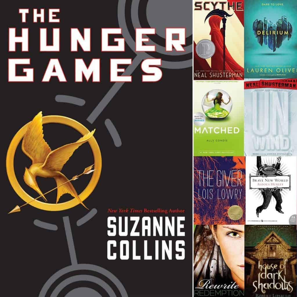 The book covers Hunger Game plus recommended YA Dystopian Novels.