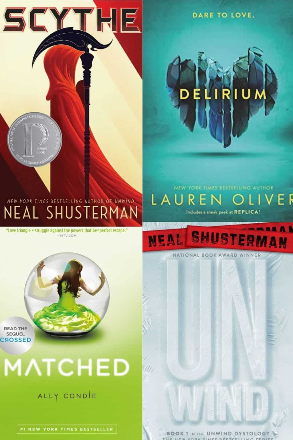 The covers of four YA Dystopian Novels including Scythe, Delirium, Matched, and UnWind.