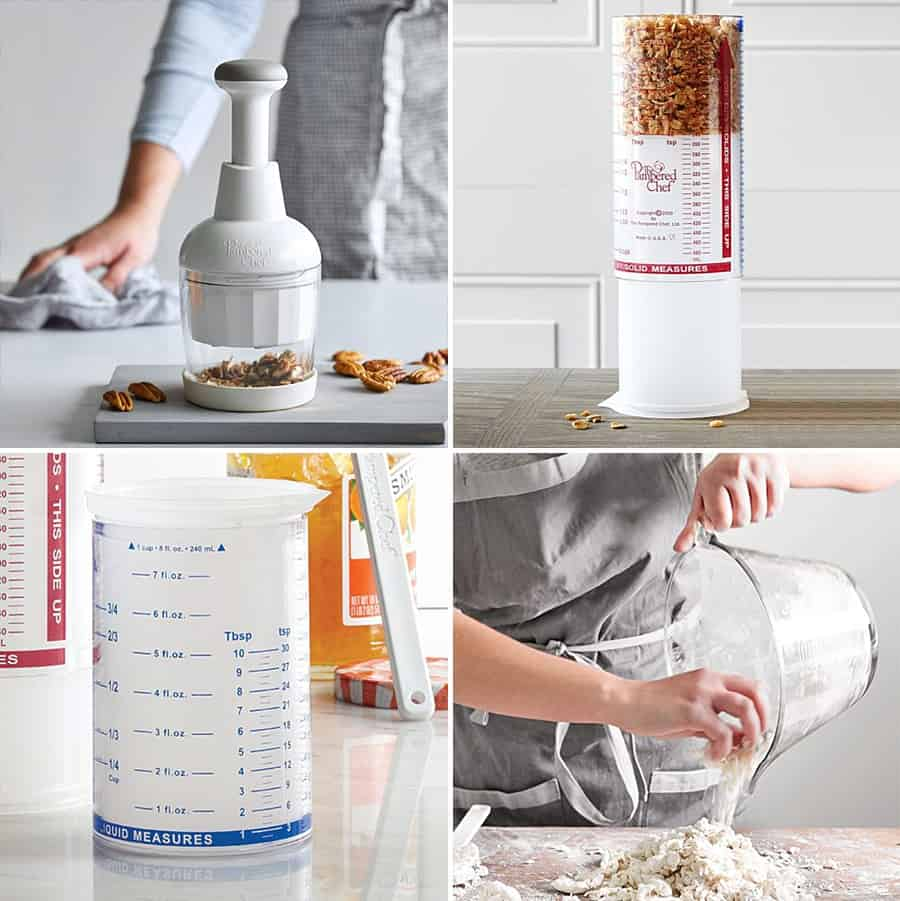A collage of Pampered Chef products including a food chopper and specialized measuring cup.