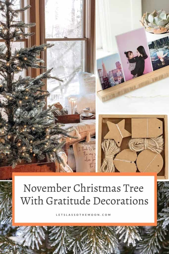 A collage of three images: a Christmas tree with twinkle lights, a set of Instagram pictures in a wood frame, and a box of craft tags with twine.