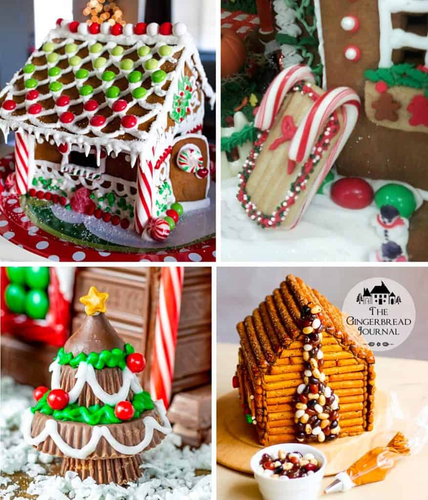 A collage of gingerbread house decorations including a full candy house, a sled made with a cookie and candy canes, a chocolate Christmas tree made with peanut butter cups, and a pretzel gingerbread house with a jelly bean chimney.
