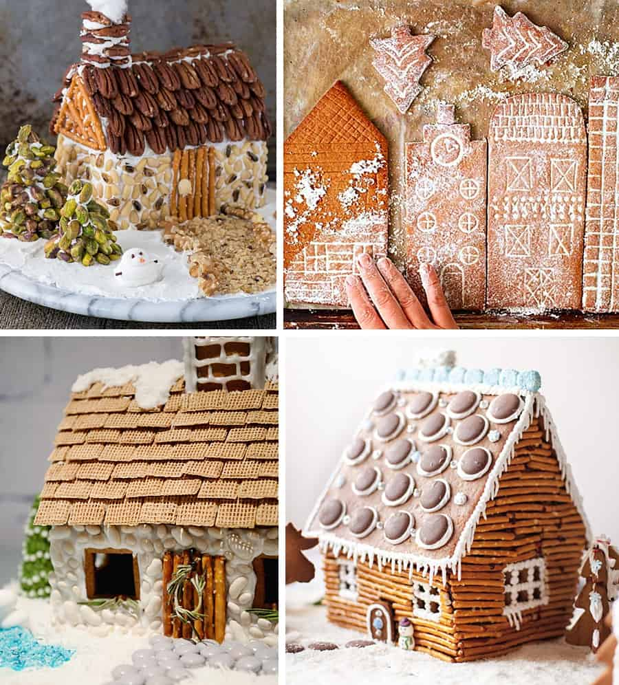 Four gingerbread houses decorated with things besides candy.