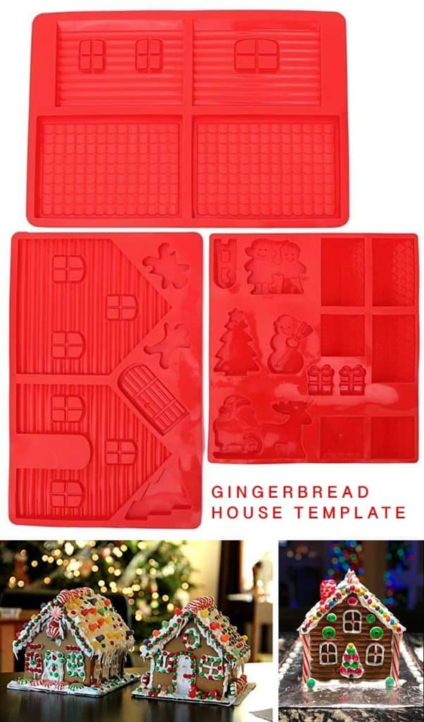 A silicon gingerbread house template baking mold plus images of three decorated gingerbread houses.