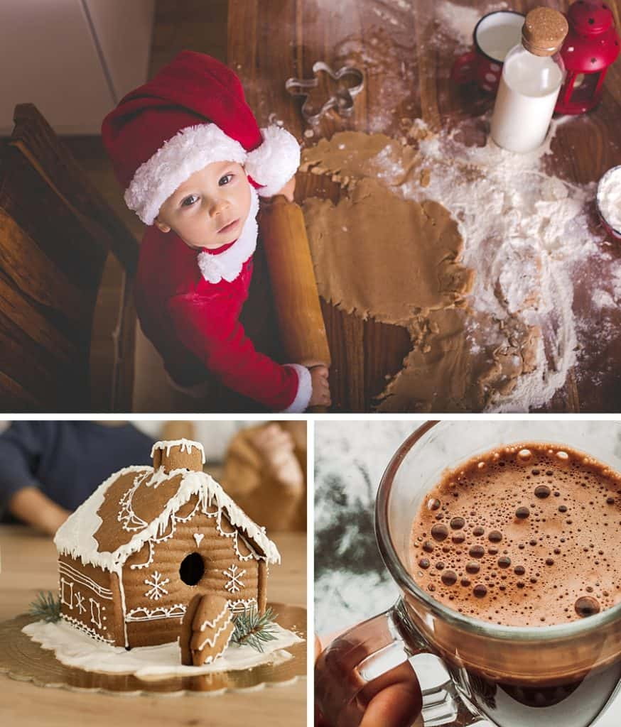 A collage including a little boy in a Santa hat rolling out gingerbread dough, a gingerbread house, and a glass of hot chocolate.