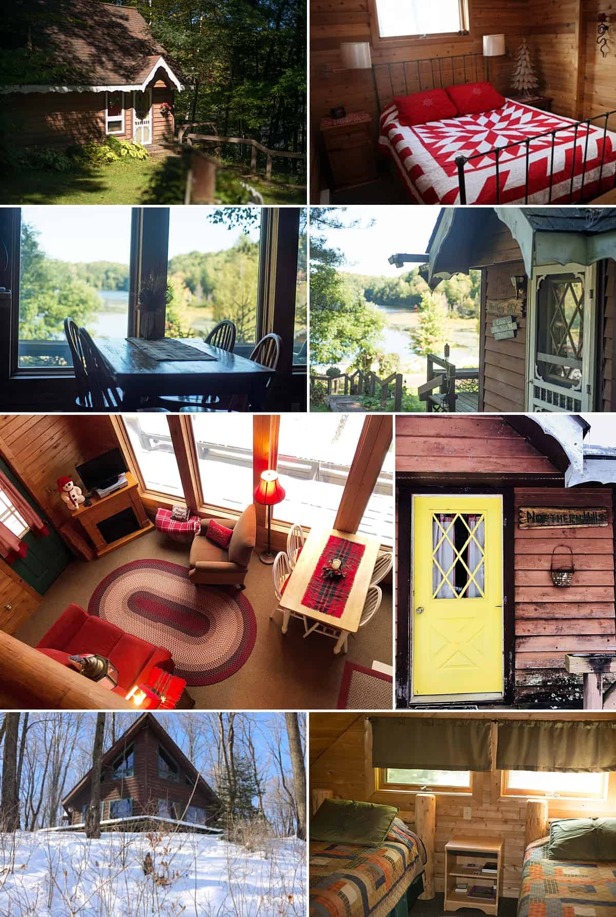 A collage of different Wisconsin cabin rentals available at High Point.