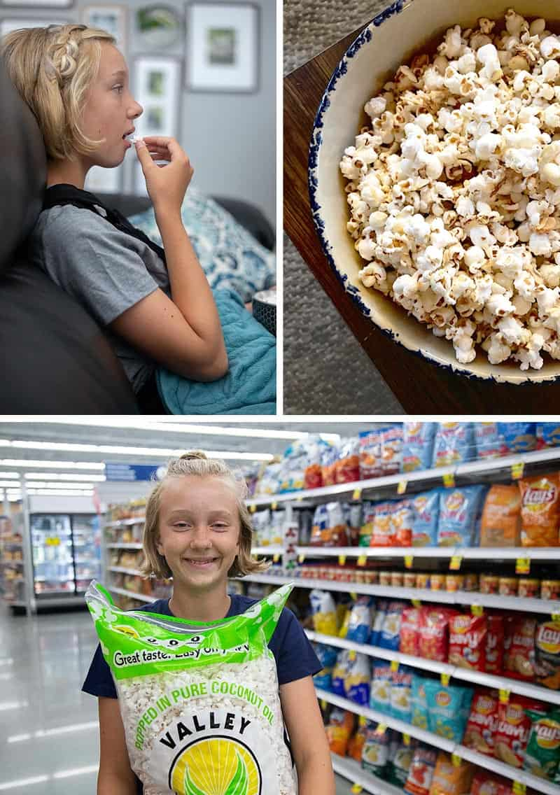 "A photo collage including a teen eating popcorn, a bowl of white chocolate covered popcorn, and a teen girl in a grocery store holding a bag of ""Valley Popcorn."""