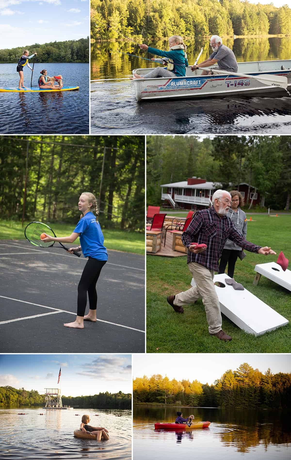 A collage of photos from the Wisconsin lake resort Afterglow. Including kayaking, boating, tennis, and swimming.