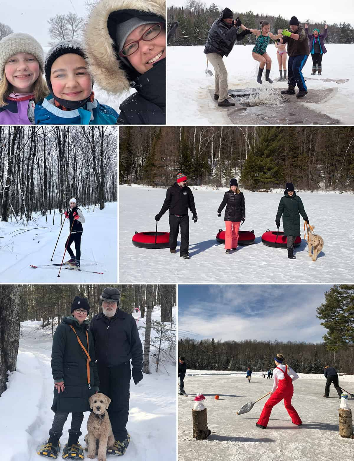 A collage of photos from the Wisconsin restort Afterglow, including skiing, tubing, snowshoeing, and ice broom ball.